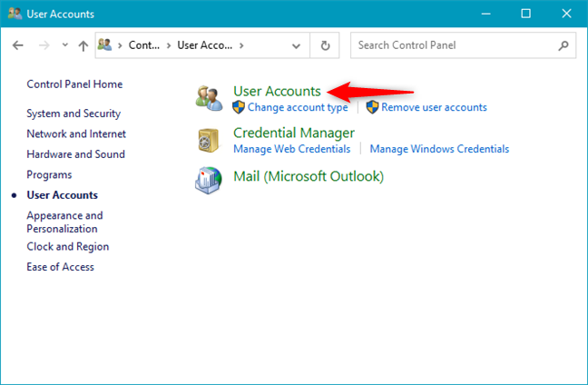 Opening the User Accounts settings