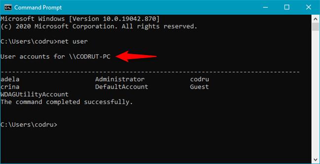 Run net user to make Windows CMD show users