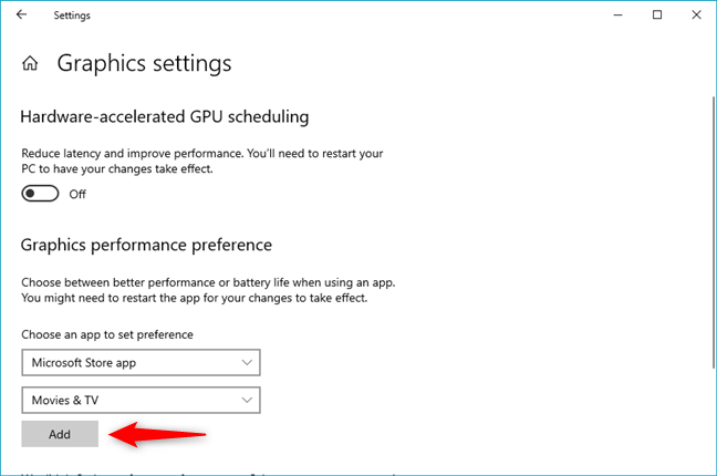 Add a Microsoft Store app for which to force the graphics card used