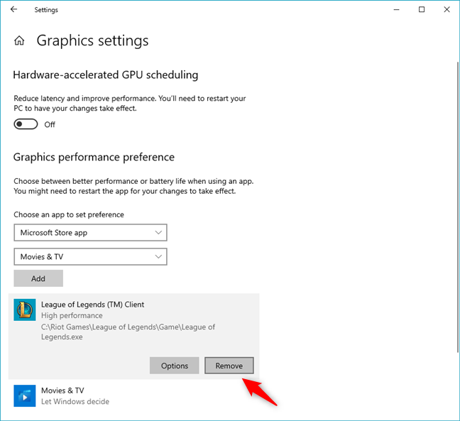 Removing the GPU preference for a game in Windows 10