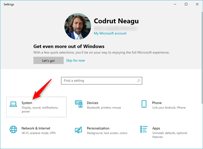 The System category in Windows 10's Settings