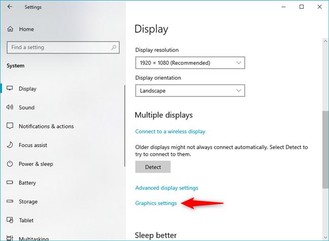 Open Graphics settings