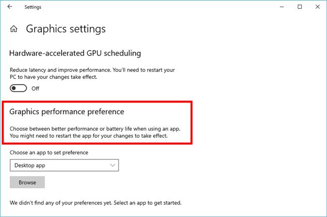 Graphics performance preference