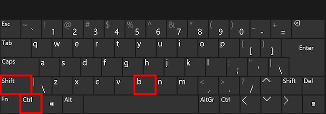 Press the keys at the same time to toggle the Favorites bar