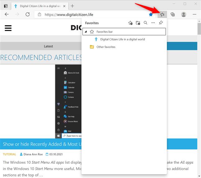 Access the Microsoft Edge Favorites