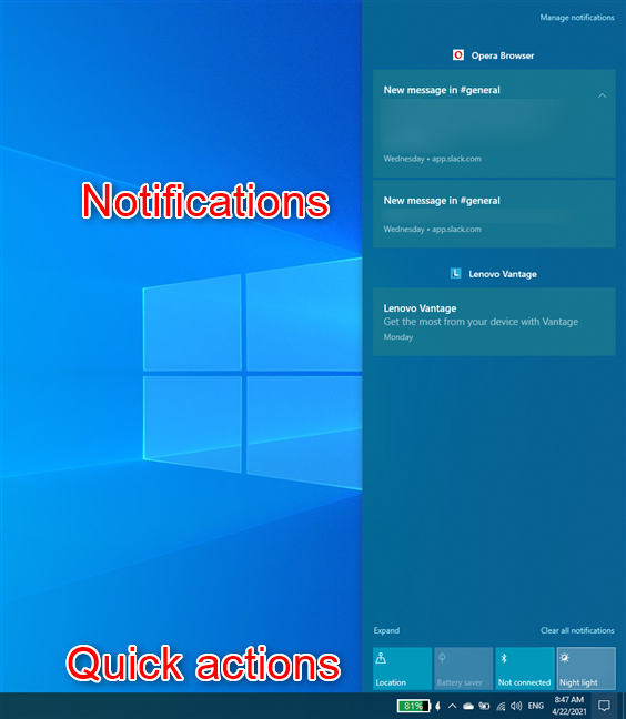 Windows 10's Action Center has Notifications and Quick Actions