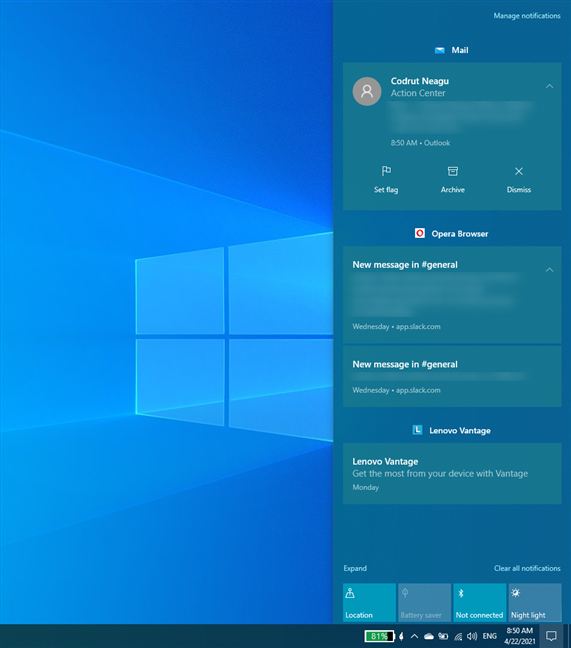What the Action Center looks like in Windows 10