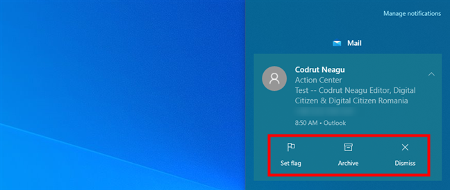 Interacting with a Windows 10 notification