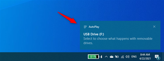 A notification from Windows 10's Action Center