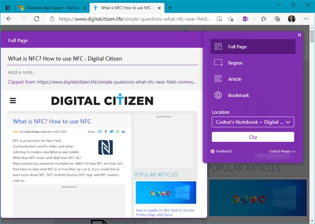 OneNote Web Clipper add-on for Microsoft Edge