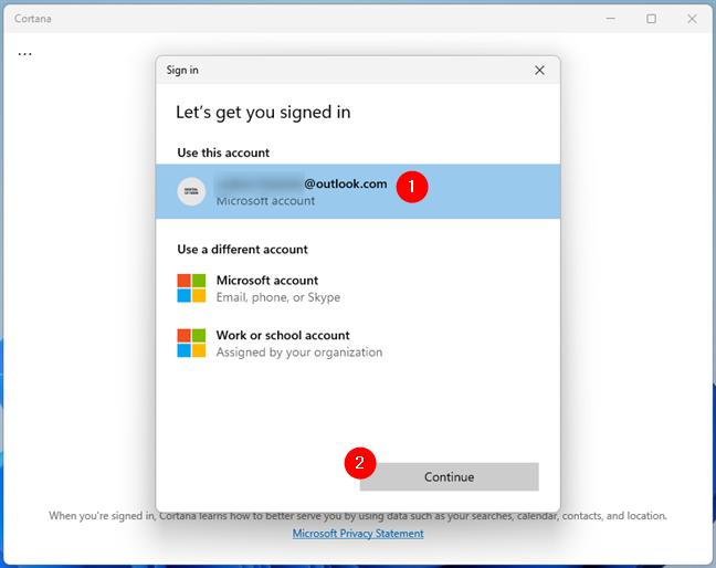 Use your Microsoft account with Cortana