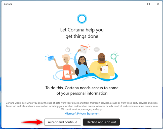 Allow Cortana to access some of your personal information