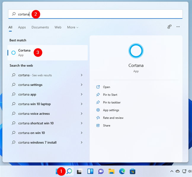 How to open Cortana in Windows 11 using search