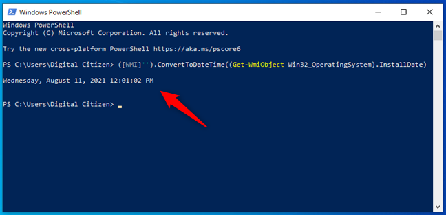 See the Windows installation date in PowerShell