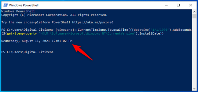 Get the Windows install date from PowerShell