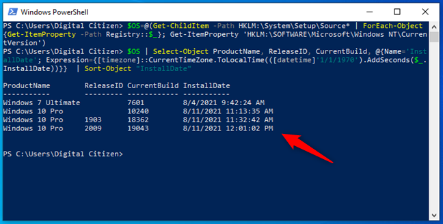 Find out what is the original install date of Windows and following upgrades using advanced PowerShell commands