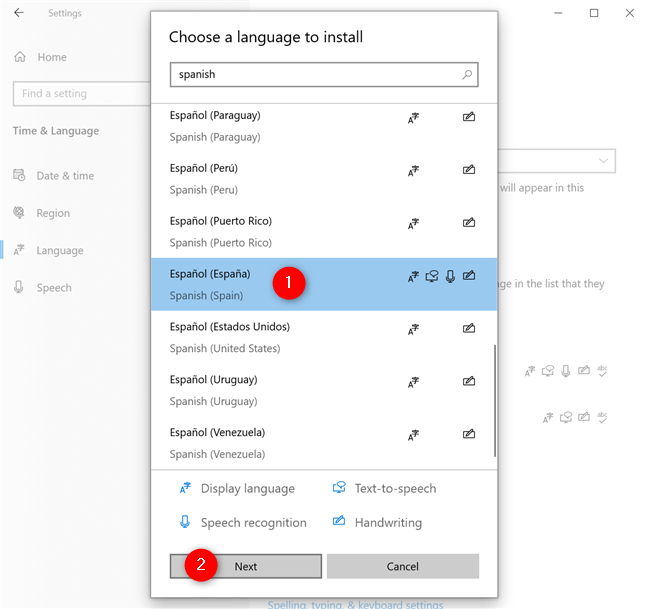 Select the Windows 10 language you want and press Next