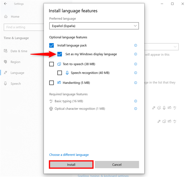 How to change language on Windows 10 right away
