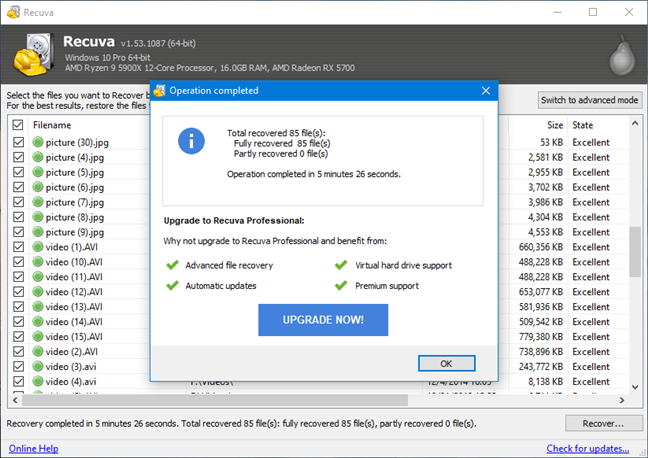 Deleted files recovered by Recuva using fast scan