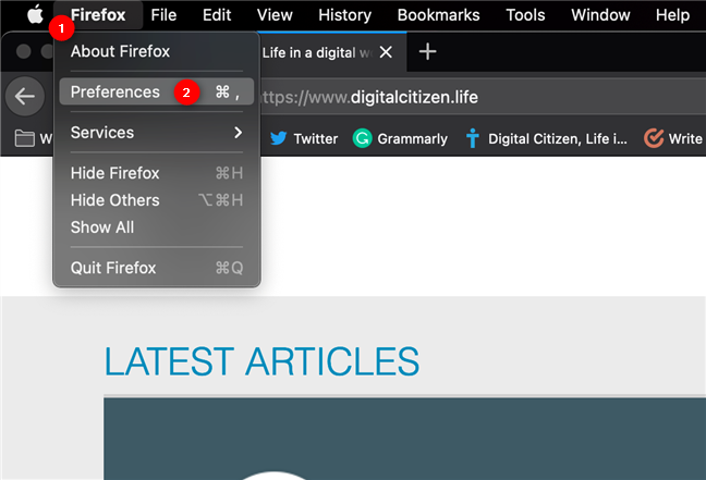 Access Preferences to change the Firefox language on Mac