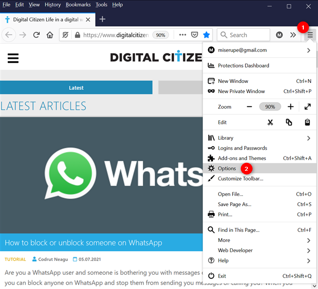 Click or tap on Options from the menu to change language in Firefox for Windows
