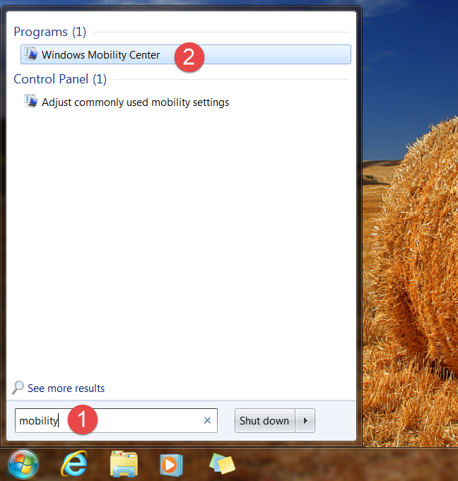 How to open Windows Mobility Center in Windows 7