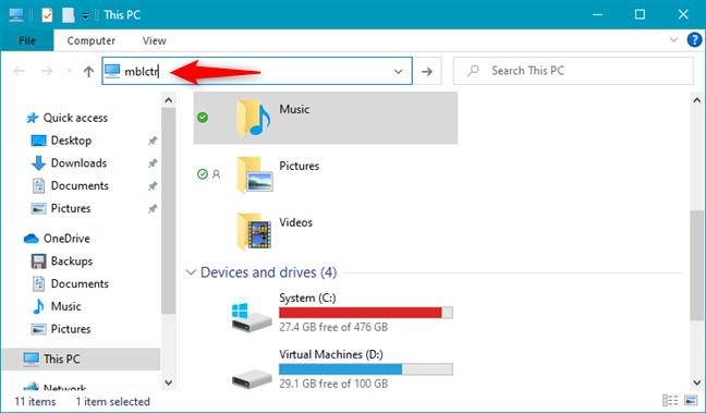 Running mblctr from File Explorer