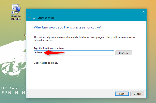 Creating a shortcut to Windows Mobility Center