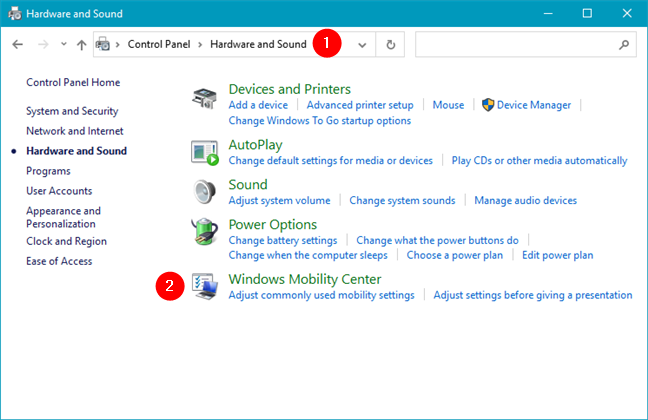 Where is Windows Mobility Center in Control Panel