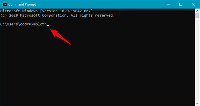 Running mblctr in CMD to open Windows Mobility Center