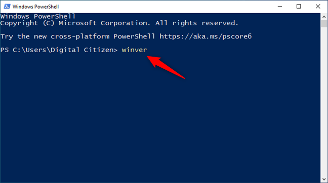 winver command in PowerShell