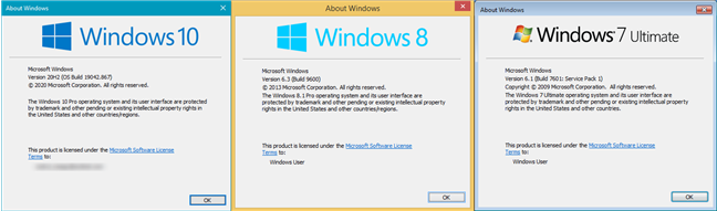 winver command: About Windows