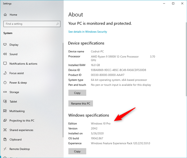 Windows specifications in the Settings app