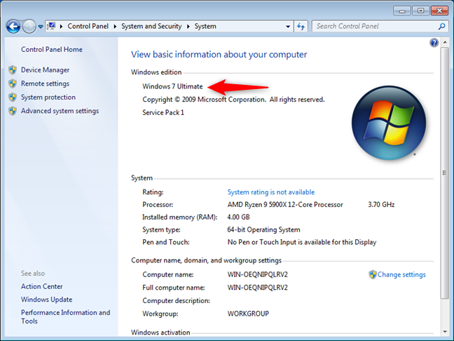 Windows information in the Control Panel