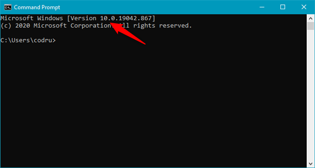 Windows 10 is shown as Version 10 in Command Prompt