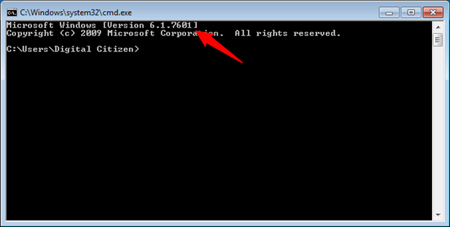 Windows 7 is shown as Version 6.1 in Command Prompt