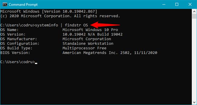 systeminfo | findstr OS