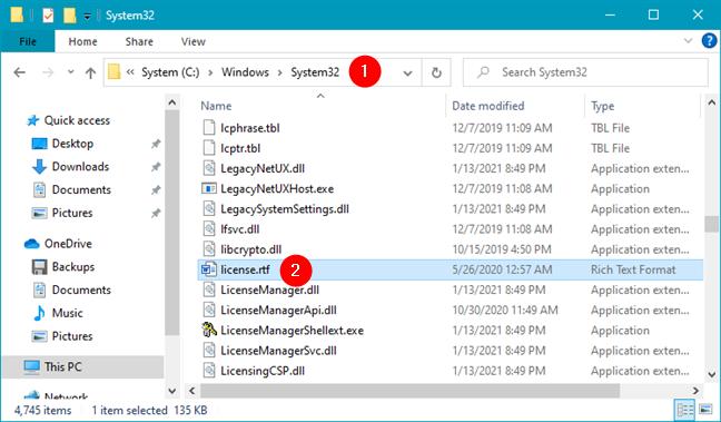 license.rtf in Windows -> System32