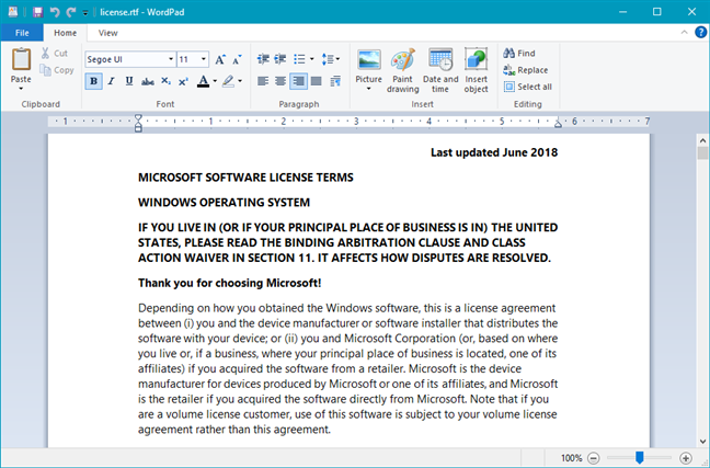 license.rtf showing that you have Windows 10