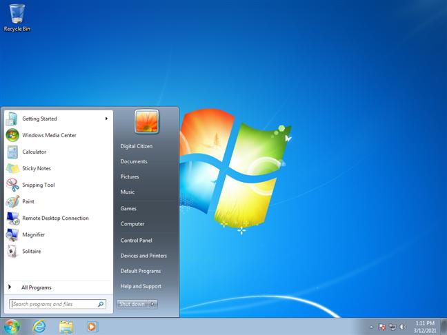 Windows 7 desktop and Start Menu