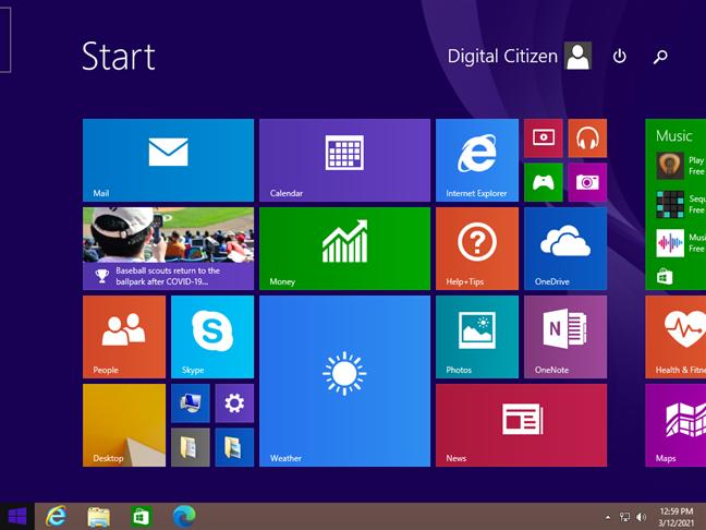 Windows 8.1 desktop and Start Screen