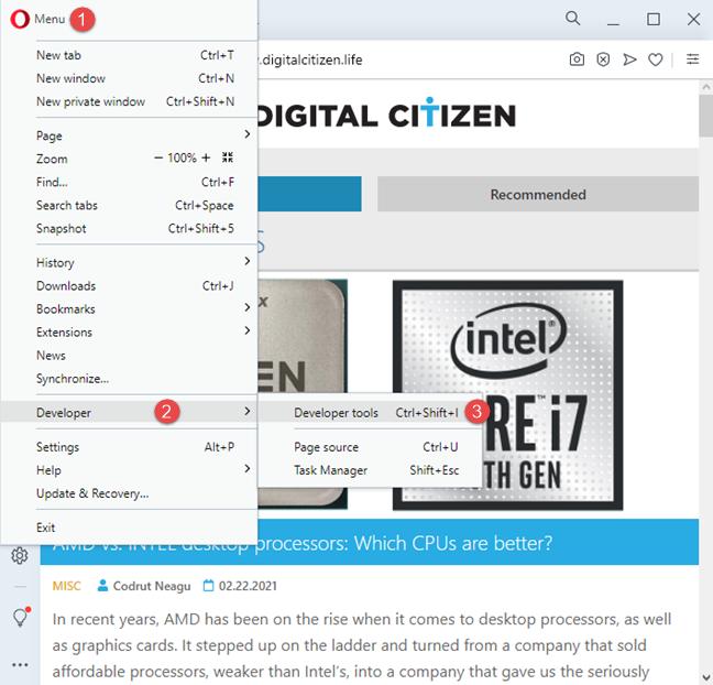 Access the Developer tools in Opera