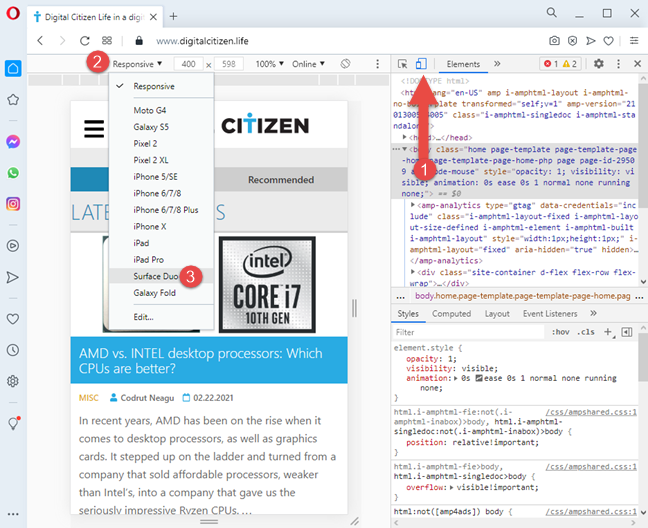 Access the mobile browser emulator in Opera