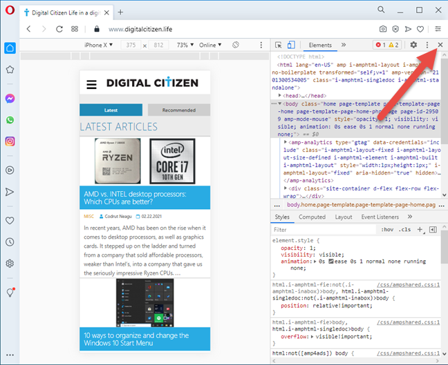 Close the mobile browser emulator in Opera