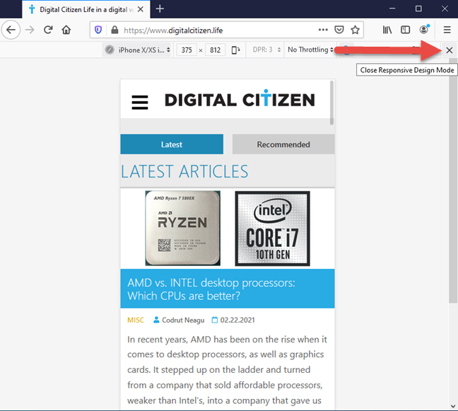 Close the mobile browser emulator in Firefox