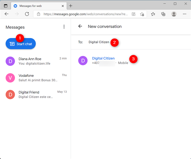 Start a chat with a new contact from your browser with Messages for web