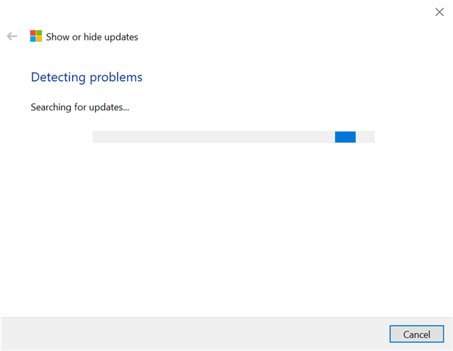 Let the troubleshooter search for available updates in Windows 10