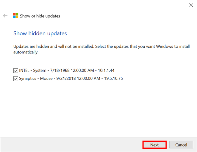 Select the hidden updates you want to show again and install in Windows 10