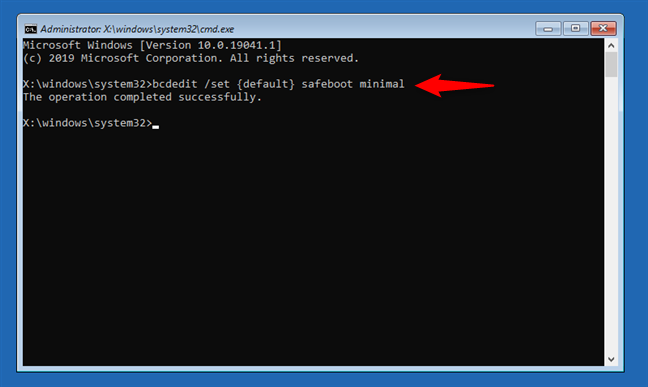 How to boot in Safe Mode from the Command Prompt