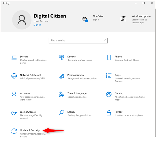 Update & Security in the Windows 10 Settings app